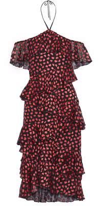 Alice + Olivia Off-the-shoulder Ruffled Printed Fil Coupe Chiffon Halterneck Dress