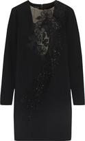Oscar de la Renta Embellished Tulle-paneled Crepe Mini Dress