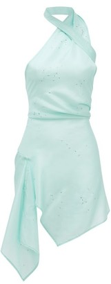 Ludovic de Saint Sernin Swan Halterneck Crystal-embellished Silk Dress - Blue