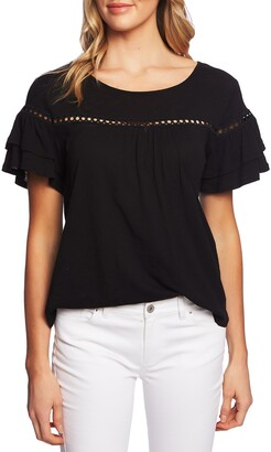 CeCe Lace Inset Ruffle Sleeve Cotton Blend Top