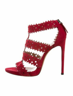 Alaia Suede Laser Cut Sandals Red