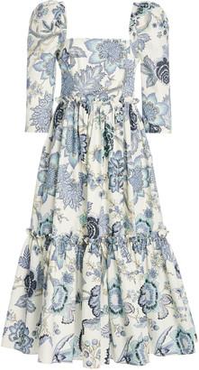 Cara Blue Hill Floral-Print Cotton-Poplin Midi Dress