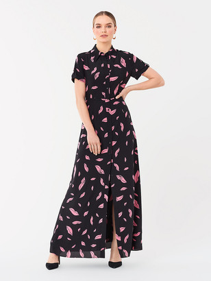 Diane von Furstenberg Georgia Silk Crepe de Chine Maxi Shirt Dress