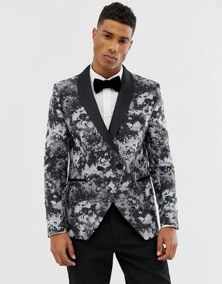 Moss Bros skinny blazer in smoke print-Grey