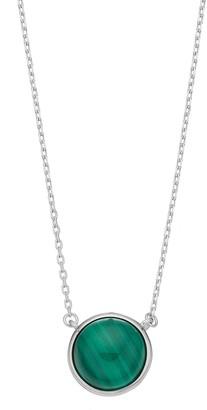Sterling Silver Malachite Cabochon Necklace