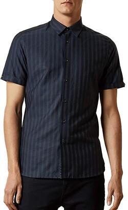 Ted Baker Handeez Short Sleeve Dotted Stripe Shirt (Navy) Men's Clothing