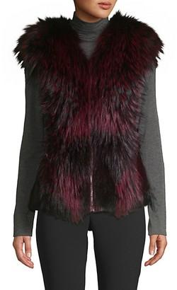 Wolfie Fur Made For Generation Dyed Mink Fox Fur Leather Vest