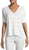 Eileen Fisher Striped V-Neck Short Sleeve Top