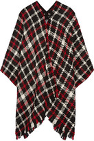 Moschino Checked Wool-blend Bouclé Poncho - Red