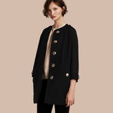 Burberry Technical Wool Cashmere Collarless Coat