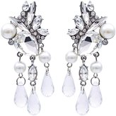 Accessoriesforever Bridal Wedding Jewelry Crystal Rhinestone Pearl Stunning Chic Dangle Earrings