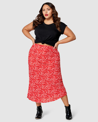 Sunday In The City - Women's Red Midi Skirts - Bitter Sweet Print Midi Skirt - Size One Size, 12 at The Iconic