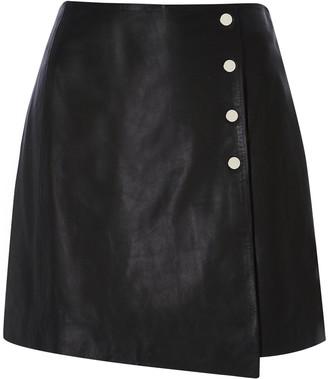 River Island Leather A-line Skirt - Black