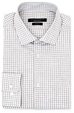 John Varvatos Melange Gingham Slim Fit Dress Shirt