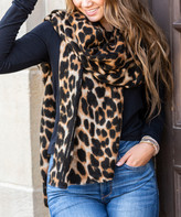 Aili's Corner Women's Accent Scarves Brown - Brown Leopard Print Blanket Scarf - Women
