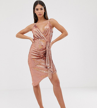 TFNC Tall wrap front mini sequin dress in rose gold