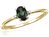 1/2 CT TW Peridot Yellow Silver 3-Stone Ring with Diamond Accents by JewelonFire