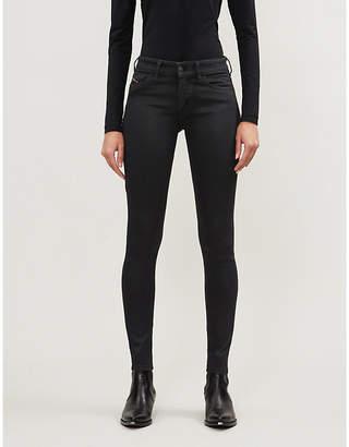 Diesel Slandy skinny high-rise coated stretch-denim jeans