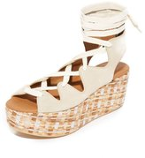 See by Chloe Alia Platform Wedge Lace Up Sandal Beige