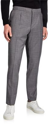 HUGO BOSS Men's Brider Glen Plaid Pleated Wool Trousers
