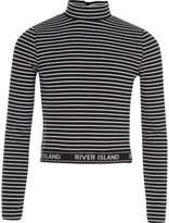 River Island Girls Black stripe high neck long sleeve top