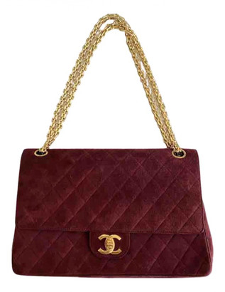 Chanel Timeless/Classique Red Suede Handbags