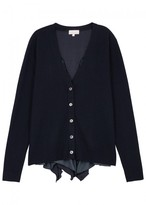 Clu Navy Ruffled-back Wool Blend Cardigan