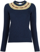 Barrie Crewneck Fitted Sweater - Navy