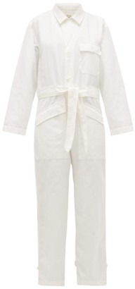 Nili Lotan Aria Cotton-blend Denim Jumpsuit - White