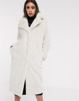MinkPink Asos Design ASOS DESIGN luxe faux fur longline maxi coat in mink-Pink