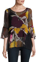 Tracy Reese Three Quarter Bell-Sleeved Round Neck Blouse
