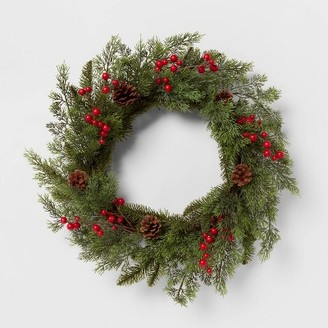 "24"" Cypress Pine Cone Berry Wreath Red - ThresholdTM"