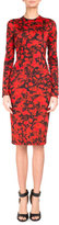 Givenchy Rose-Print Jersey Pencil Dress