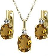 Gem Stone King 4.87 Ct Whiskey Quartz White Diamond 18K Yellow Gold Plated Silver Pendant Earrings Set