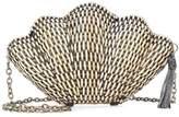 Kayu Jane woven shell clutch