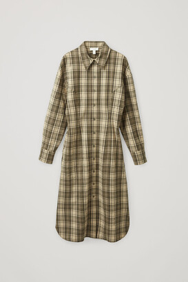 Cos Wool Mix Checked Structured Shirt Dress
