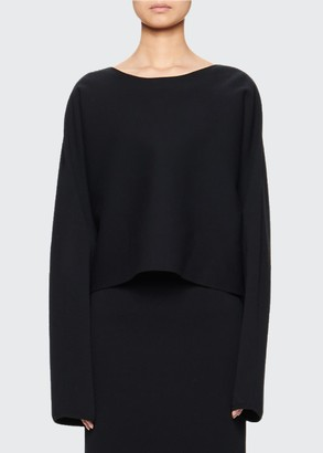 The Row Eli Cropped Long-Sleeve Top