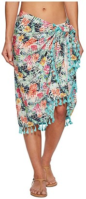 San Diego Hat Company BSS1814 Woven Tropical Print Sarong Cover-Up (Multi) Scarves