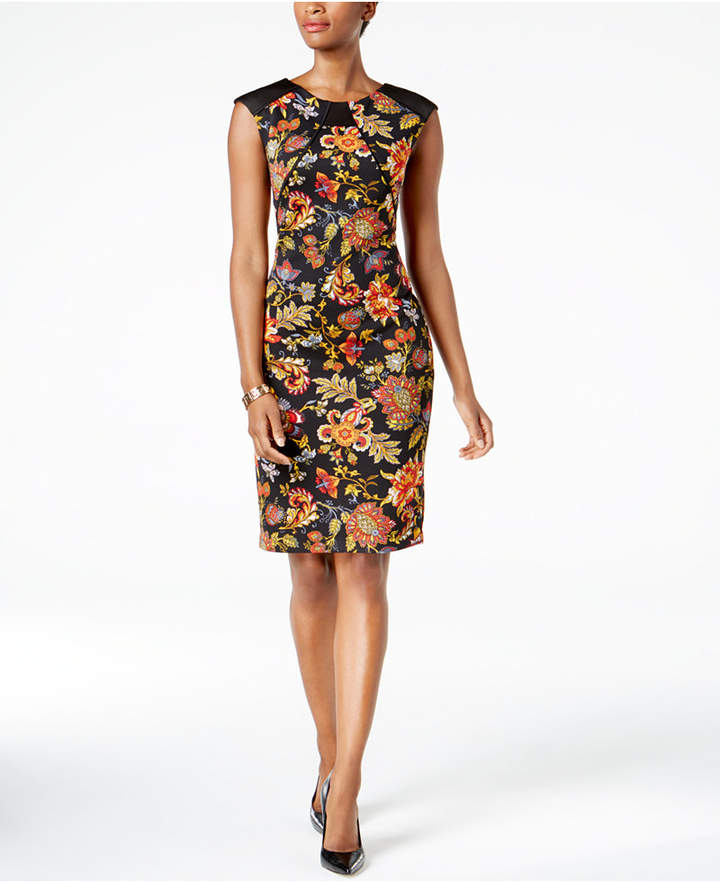 Sangria Printed Scuba Sheath Dress, Regular & Petite Sizes