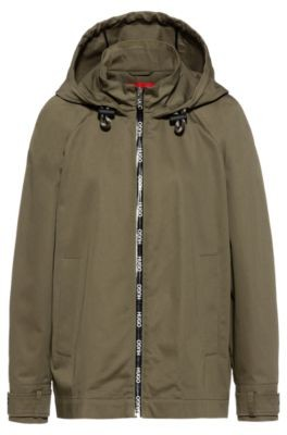 HUGO BOSS Relaxed-fit hooded jacket with logo-print zip tape
