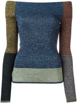 Christopher Kane patchwork off-shoulder sweater - women - Polyester - XS