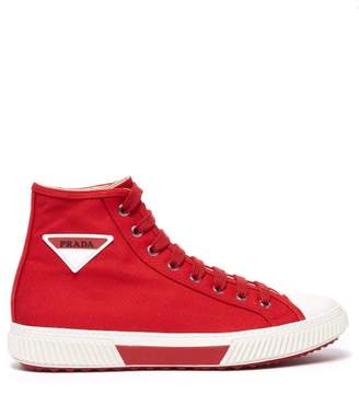 Prada Stratus High Top Canvas Trainers - Mens - Red Multi