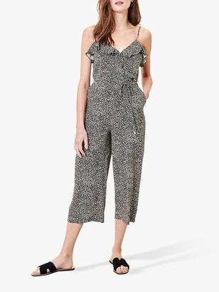Oasis Ruffle Print Jumpsuit, Black/Multi