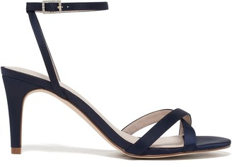 Forever New Isla Cross Vamp Low Stiletto Heels - Navy Satin - 37