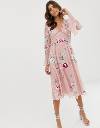 Asos Design DESIGN embroidered midi dress with lace trims-Pink