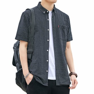 L XL /& XXL M Mens Shirt Dissident CORDOBA Stripe Casual Short Sleeve Cotton S