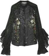 Preen by Thornton Bregazzi Rosie Printed Devoré Silk-Chiffon Blouse