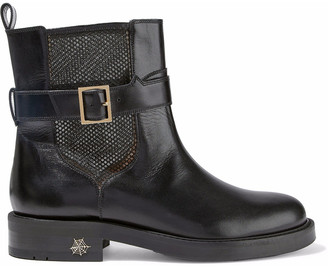 Charlotte Olympia Mesh-paneled Leather Ankle Boots