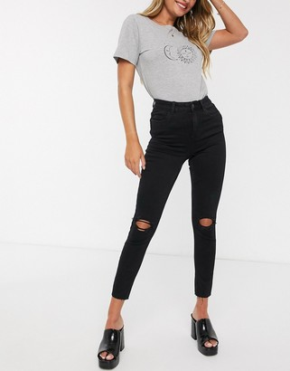 New Look shape and lift skinny jeans with rips in black