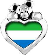 GiftJewelryShop Sierra Leone flag Emerald Green Crystal May Birthstone I Love You Heart Care Bear Charm Beads Bracelets